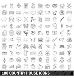 100 country house icons set outline style vector
