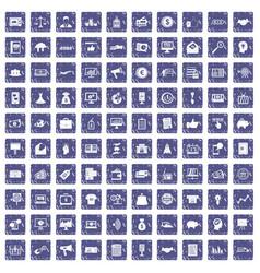 100 e-commerce icons set grunge sapphire vector