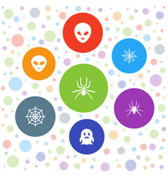 7 horror icons vector