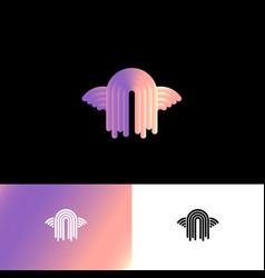a monogram angel logo wings gradient vector image