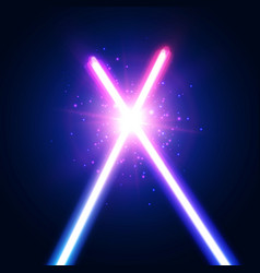abstract background with two light neon swords vector image