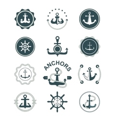 Anchor nautical symbols badges vector image