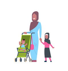 Arab mother with new born baby children vector