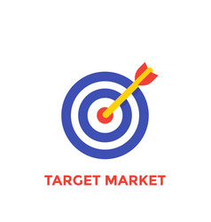arrow in center of target icon target market vector image