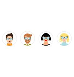 avatar people icon set line cute cartoon vector image