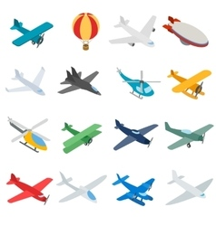 Aviation icons set isometric 3d style vector image