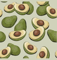 avocado half of avocado seamless pattern vector image