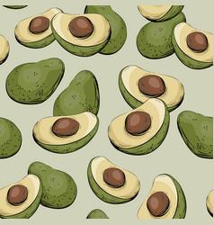 Avocado half of seamless pattern vector