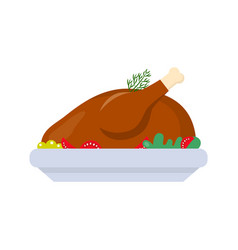 Baked chicken traditional holiday dish vector
