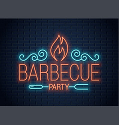 barbecue party neon sign bbq neon logo on wall vector image
