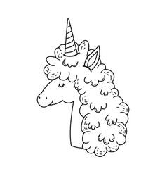 beautiful little unicorn head character vector image