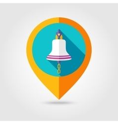Bell marine flat mapping pin icon with long shadow vector image