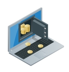 Bitcoin mining equipment Digital Bitcoin Golden vector image