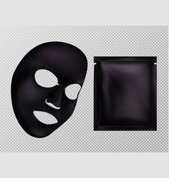 Black facial cosmetic mask and sachet vector