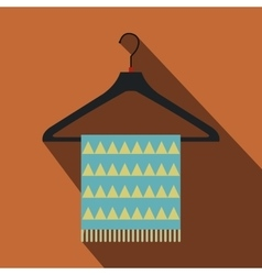 Blue scarf on coat-hanger flat icon vector image