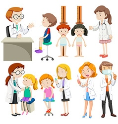Boys and girls visiting doctors vector