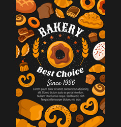 Bread and bakery food patisserie pastry shop vector