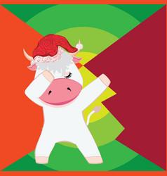 Bull in santa hat vector