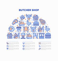 butcher shop concept in half circle vector image