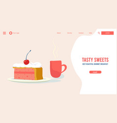 cafe website design slice cake and cup tea vector image
