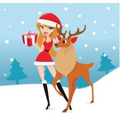 Cartoon sexy santa girl and reindeer vector