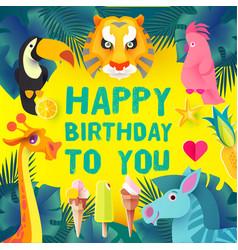 children birthday design template exotic jungle vector image
