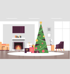 christmas decorated green fir tree with gift vector image