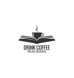Coffee cup with book concept drink coffee read vector
