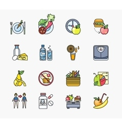 Collection of Icons on Theme Diet vector