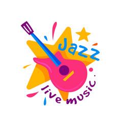 creative badge for jazz club live music emblem vector image