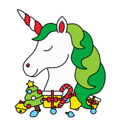 Cute christmas unicorn head with christmas items vector