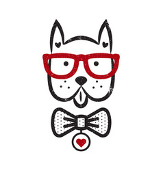 Cute gentleman dog hipster tshirt design vector