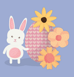 cute rabbit with easter egg painted and flowers vector image