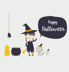 cute witch cat spider and rat cartoon character vector image