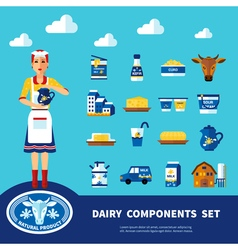 Dairy Components Set vector