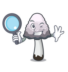 Detective shaggy mane mushroom character cartoon vector