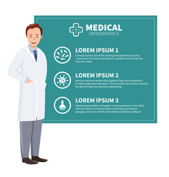 Doctor on the background of green boards with text vector