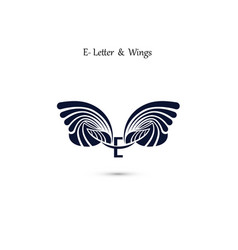 E letter sign and angel wings monogram wing logo vector