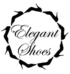 Elegant shoes text with a circle of ladies shoes vector image