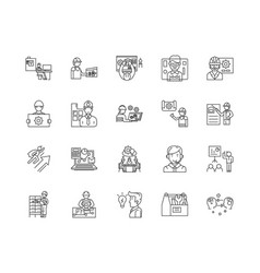 engineering consultant line icons signs vector image
