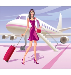 Fashion model is traveling by aircraft vector image