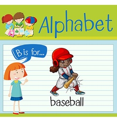 Flashcard alphabet B is for baseball vector image
