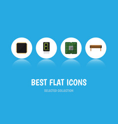 Flat icon electronics set of bobbin cpu unit and vector