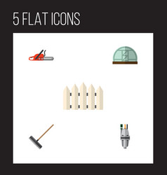 Flat icon farm set of harrow hothouse hacksaw vector
