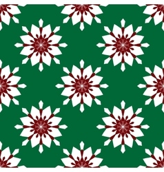 Flowers snowflakes on a green background vector image