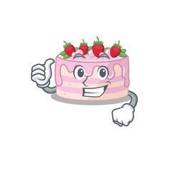 Funny strawberry cake making thumbs up gesture vector