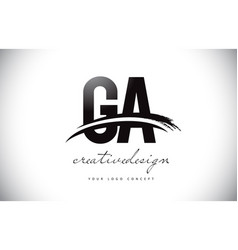Ga g a letter logo design with swoosh and black vector