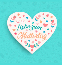 german mothers day floral card for moms love vector image