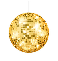 Gold disco ball dance club retro party vector
