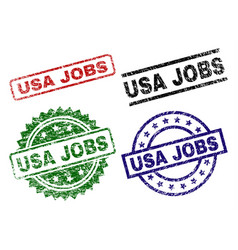 grunge textured usa jobs seal stamps vector image